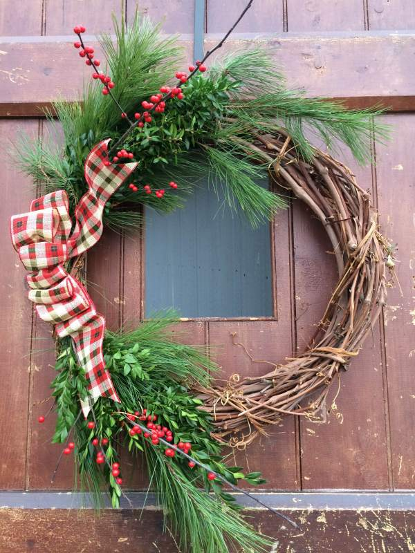 Wild Grapevine Holiday Wreath at Maple Hollow Tree Farm
